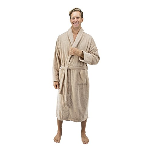 Comfy Robes Personalized Men's 16 oz. Turkish Terry Cotton Bathrobe, L/XL (OSFM) Tall Beige by Comfy Robes (Image #2)