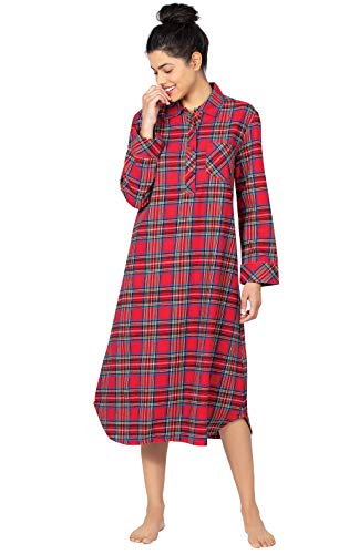 PajamaGram Womens Flannel Nightgown Women - Christmas Nightgown, Red, M / 8-10 (Nightgown Christmas Women)