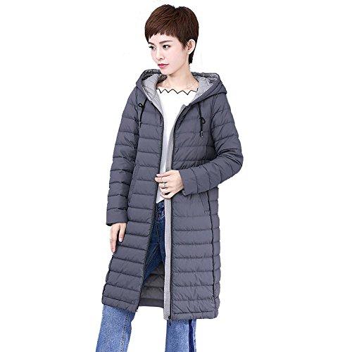 women long windproof drawstring Grey lightweight down puffer warm zipper jacket parkas coats sleeve pocket hooded pp4rx