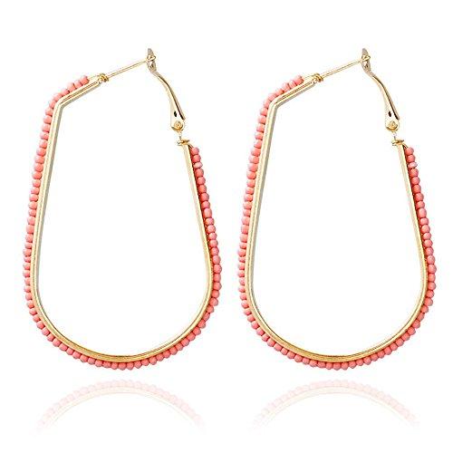 Ring Bead Engagement Dangle (Geometric U Shaped Colorful Beads Dangle Earrings - Bohemia Earrings Jewelry For Women Gift (Orange))