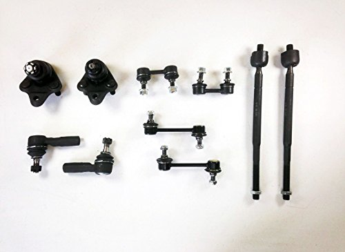 PartsW 10 Pcs Kit Lower Ball Joints Front & Rear Sway Bar Links Inner and Outer Tie Rod Ends -