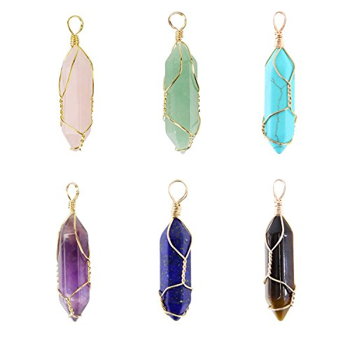 Gold Wrapped Pendant - Wholesale 6 PCS Natural Quartz Crystal Pendant Handmade Wire Wrapped Quartz Healing Chakra Reiki Charm Bulk for Jewelry Making (Assorted)