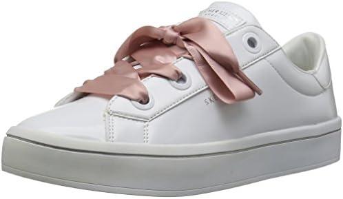 Skecher Street Women's Hi Lite Patent Lace Sneaker, White, 8