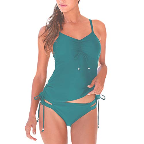 JDgoods Womens Swimming Tankini Padded Swimsuit Monokini Push Up Bikini Sets Swimwear Blue