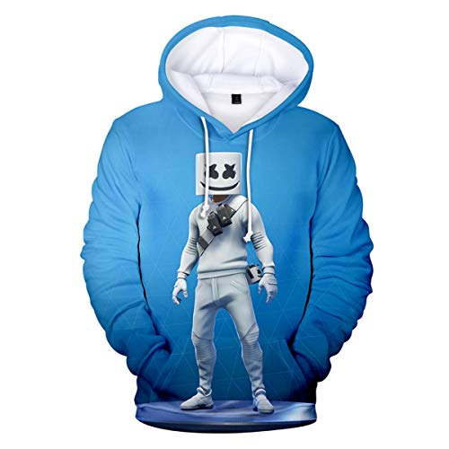 INTERESTPRINT Cool Marshmello Face Unisex Hoodie 3D Printed Pullover Cool Sweatshirt for Fans Style6 ()
