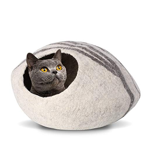 pedy 19″ Cat Cave Bed Large, Premium Handmade Natural Wool Self Warming Cat Cubby Enclosed for Cats and Kittens