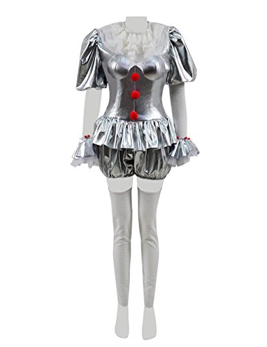 Xiao Maomi Horror Scary Clown Killer Cosplay Costumes Suit Outfit Halloween Party Masquerade for Women (US Women-XXL, Silver) ()