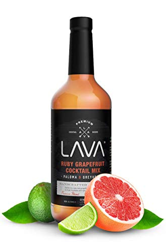LAVA Premium Paloma Mix Craft Cocktail Mixer, Made with Ruby Red Grapefruit, Key Lime, Low Calorie, 1-Liter (33.8oz) Glass Bottle, Ready to Use, Great for La Paloma Drink, Greyhound, Margarita Mix