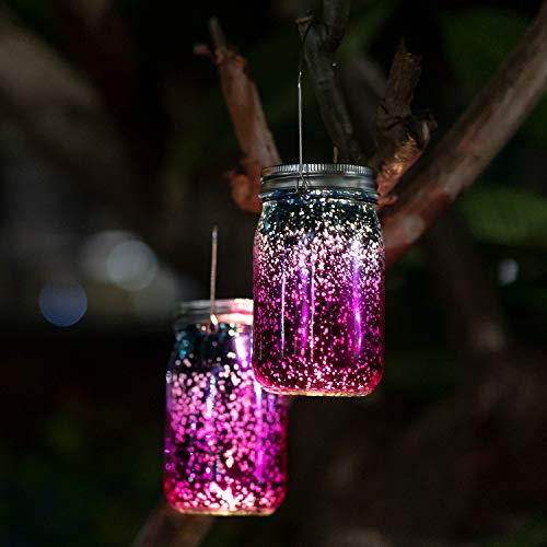 - Solar Glass Mason Jars Lights - 2 Pack SUNWIND Waterproof Solar Table Lights Outdoor Hanging Solar Decorative Lights with Handle for Garden, Patio, Home, Holiday Decor (Color 2)