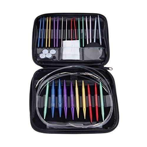13 Different Sizes Aluminum Alloy Circular Knitting Needles, Mutiple Random Colors by Yetaha