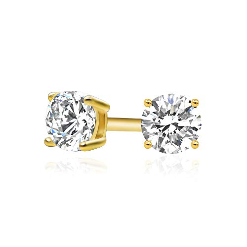 14k Yellow Gold Plated 925 Sterling Silver Cubic Zirconia Classic Basket Prong Set Eternity Stud Earrings, 3mm