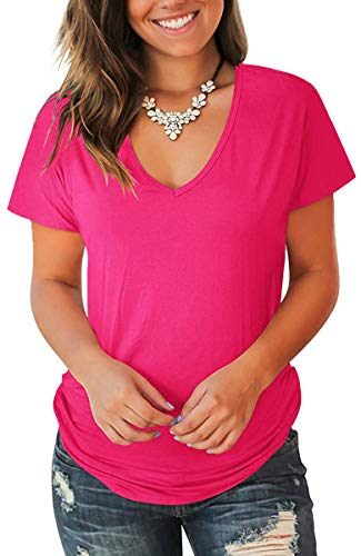 Jescakoo Dressy Tops for Women Short Sleeve Solid V Neck T Shirts Rose Red -