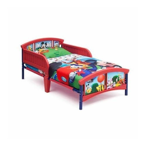 Durable & Playful Walt Disney Mickey Mouse Plastic Toddler Bed With Sturdy Steel Frame, Multicolor