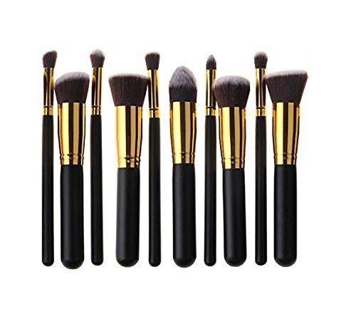 HÖSL 10PCS Premium pelo sintético maquillaje cepillo conjunto cosméticos Fundación mezcla Blush polvo pincel maquillaje cepillo Kit (oro negro)