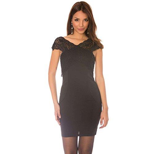 Miss Wear Line - Robe noir à col dentelle croisé