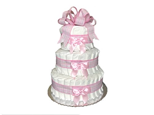 Classic Pastel Baby Shower Diaper Cake (3 Tier, (Baby Shower Cakes For Twins)