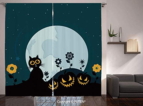 Thermal Insulated Blackout Window Curtain [ Halloween Decorations,Cute Cat Moon on Floral Field with Starry Night Sky Star Cartoon Art,Blue Black ] for Living Room Bedroom Dorm Room Classroom Kitchen -