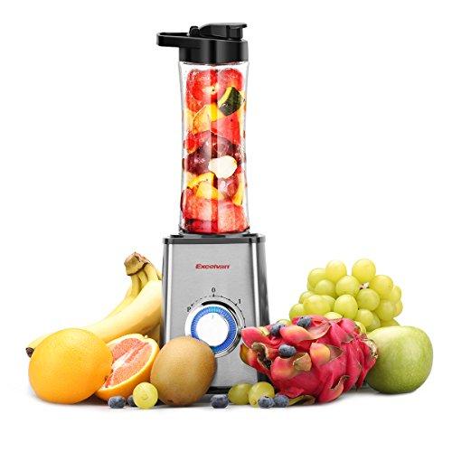 Excelvan Mini Smoothie-Maker mit Trink-Flasche Sport Standmixer 600mL 300W Shake Mixer Edelstahl BPA-frei Tritan