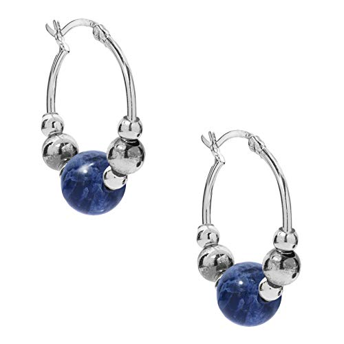 American West Sterling Blue Sodalite Gemstone Beaded Hoop Earrings 1 inch