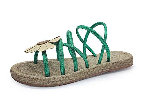zapatos abiertos de las sandalias planas de los estudiantes sandalias flores verde