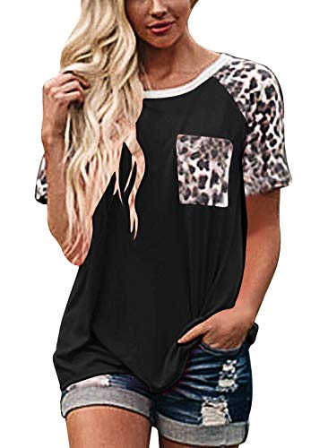 Topstype Womens Short Sleeve Tops Crew Neck Casual Leopard Shirts with Pocket Tee Black