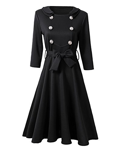 Leadingstar Women Double Collar Metal Buckle Bow Belted 3/4 Sleeve