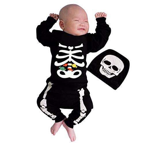 Newborn Skeleton Romper Jumpsuit,Crytech Novelty Cotton Long Sleeve Skull Bone Print Onesie One Piece Halloween Costume One Piece Bodysuit Clothing for Infant Baby Girl Boys (3-6 Months, with Hat)