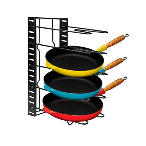Pot Organizer,Cookware Pan Organizer Holder Rack,Heavy Duty Adjustable Cabinet Pantry Pot Lid Organizer Holder Rack Storage for Cutting Board Roasting Frying Pans,Total 5 Compartments By Meleg Otthon by meleg otthon