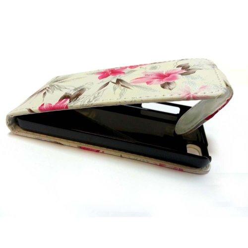 GADGET BOXX BLANC FLEUR ROSE PRINT DESIGN CUIR HOUSSE CASE FLIP POUR APPLE IPHONE 5C