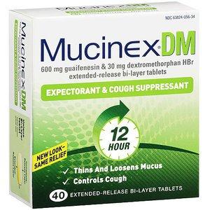 Mucinex DM 12 heures expectorant et Toux Supressant comprimés, 40 comte