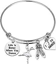 PENQI Girls Dance Jewelry Life is Better When You Dance Bangle Bracelet Ballerina Ballet Jewelry Gift for Danc