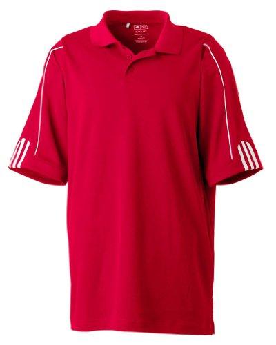 adidas Golf Men's Climalite 3-Stripes Cuff Polo Sport Shirt. A76 - X-Large - University Red/White