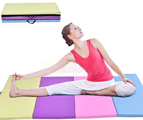 "K&A Company Gymnastics Mat Folding Pu Panel Gym Fitness Exercise Multi Colors 4' x 8' x 2"" New Yoga"