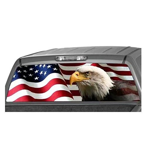 Leaftree American Eagle Flag Banner Rear Window Graphic Decal Tint Sticker for Truck SUV Jeep