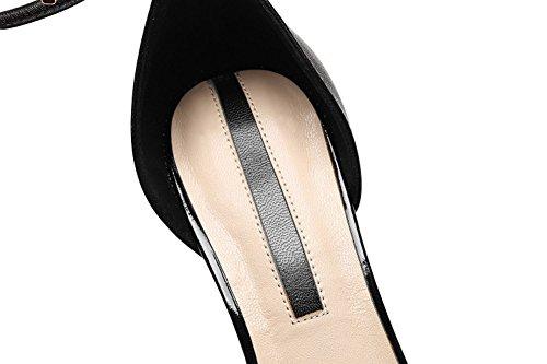 Noir Occidental Talon véritable Mince Unie Pointu en Cuir Noir Style Simples Couleur métal élégant Pied Couleur Taille Anneau LBDX 36 Haut Chaussures vqS51wzn