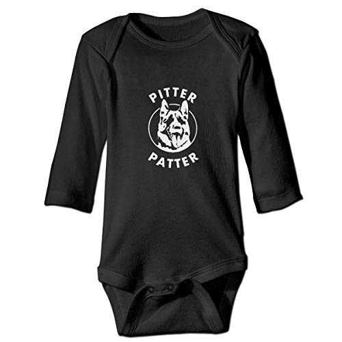 Binfldg Funny Pitter-Patter Arch Long Sleeve Baby Romper Black