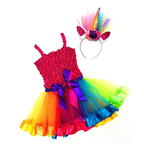 Attitude Studio Rainbow Unicorn Costume, Hot Pink Ruffled Top, Colorful Tutu Skirt, Glitter Flower Horn Ears Head Band - Pretend Play Halloween Birthday Party - Tulle Dress Up, Little Girls (3 pc Set) ()