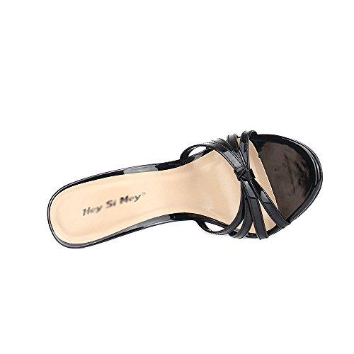 Diapositiva Di Nero Grande Vestito Elaborazione Tallone Sandalo Nero Del 40 Dell'unità Pistone Donne Gfydc Tacco E01qwH