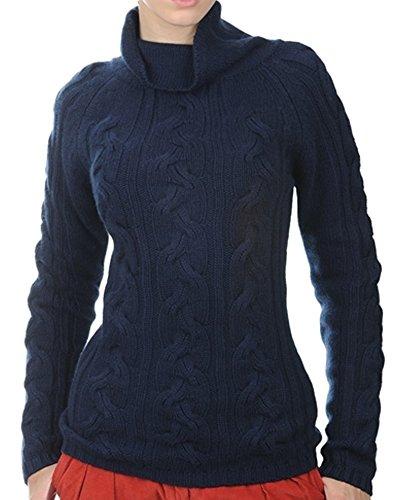 Balldiri 100% Cashmere Damen Pullover Rollkragen Zopfmuster 12 fädig nachtblau M