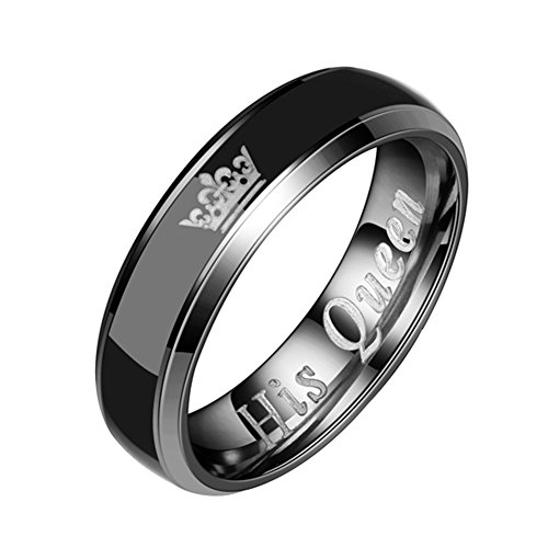lightclub Couple Gift Wedding Anniversary Titanium Steel Crown His Queen Her King Band Ring Rings for Couple Black His Queen 7