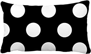 FUNICE Black White Polka Dots Outdoor Indoor Throw Pillow Cover Rectangle 20 x 30inch