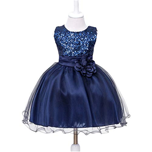 HUANQIUE Baby Girls Wedding Pageant Dress Princess Tutu Dress Navy 9-12Month]()
