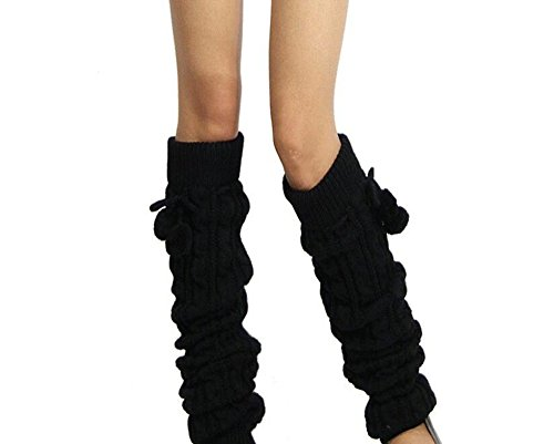 - 1 Pair Women Crochet Knitted Winter Leg Warmer Legging Sock- Legging Boot Cover Over-Knee Socks Knee Brace Support Sleeve Leg Support Brace Pads Kneecap (Black)
