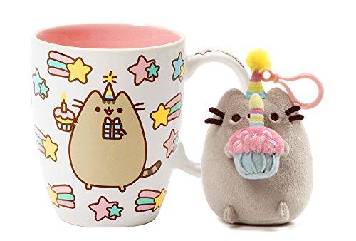Pusheen Happy Birthday Celebration Mug and Pusheen Birthday Backpack Clip (Happy Hanukkah Hat)