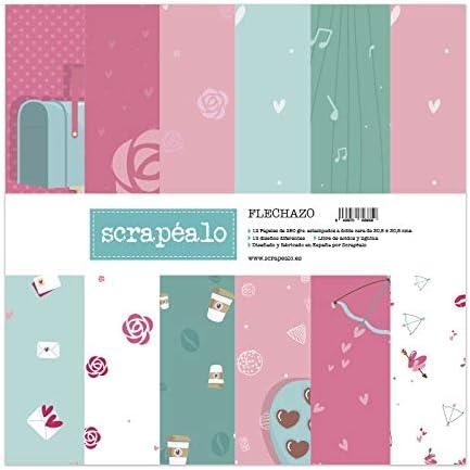 Kit de papeles para scrapbooking colección Flechazo de Scrapéalo - Contiene 12 papeles decorativos para álbumes de recortes de 250gr. m² impresos a doble cara con medidas de: 30,5 x 30,5 cm.: Amazon.es: Hogar