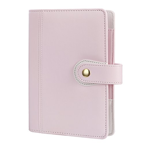 Harphia Personal Size Planner Binder Macaron Pink Notebook Personal Organizer, Diary Journal Agenda, Size 7.48 x 5.51' A6',with Golden Snap Button Closure(Pink)