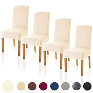 Prime Tianshu Velvet Dining Chair Cover Soft Stretch Dining Room Chair Slipcover Set Of 4 Ivory Creativecarmelina Interior Chair Design Creativecarmelinacom