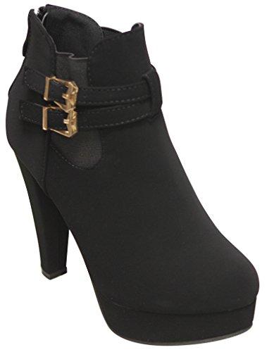 high rear Black Tingo booties Moda Top heel buckle platform ankle elastic 36 side women's zip vT50q6xw