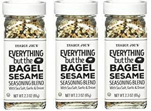 Trader Joes Everything But The Bagel Sesame Seasoning Blend With Sea Salt, Garlic and Onion Bundle - (Pack of 3) With Recipe Card