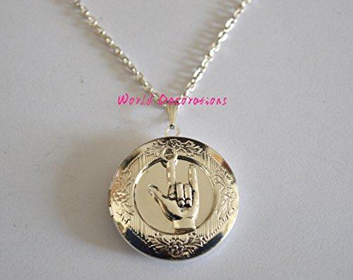 ASL I love You locket Necklace, Hand Sign Charm locket, Antique Silver,I Love You Sign Language locket Necklace, Silver Love Sign -